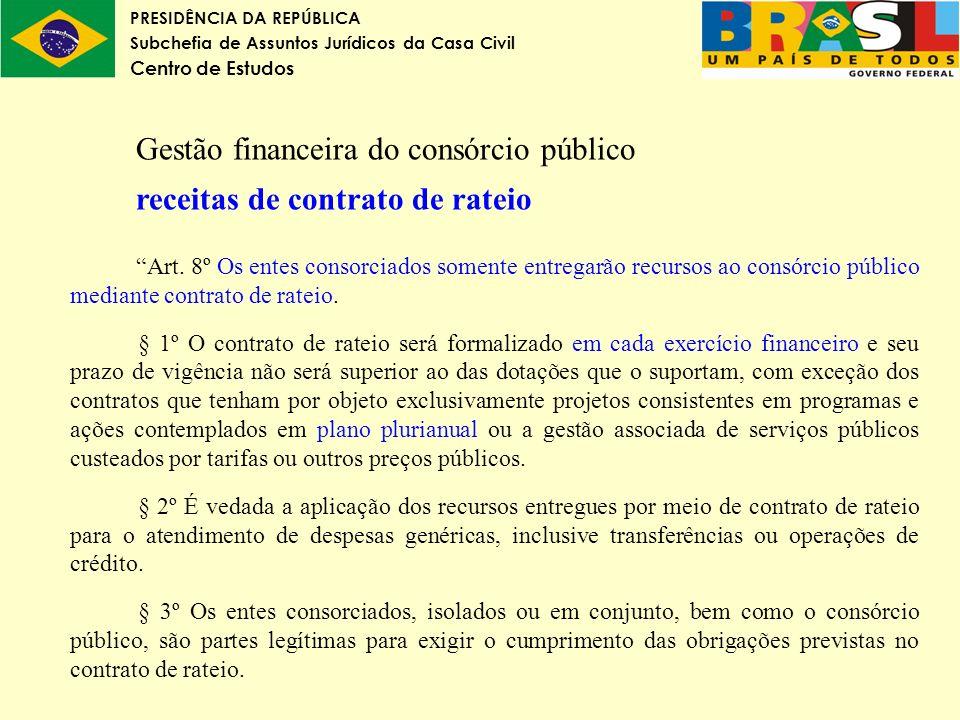 Gestão financeira do consórcio público receitas de contrato de rateio