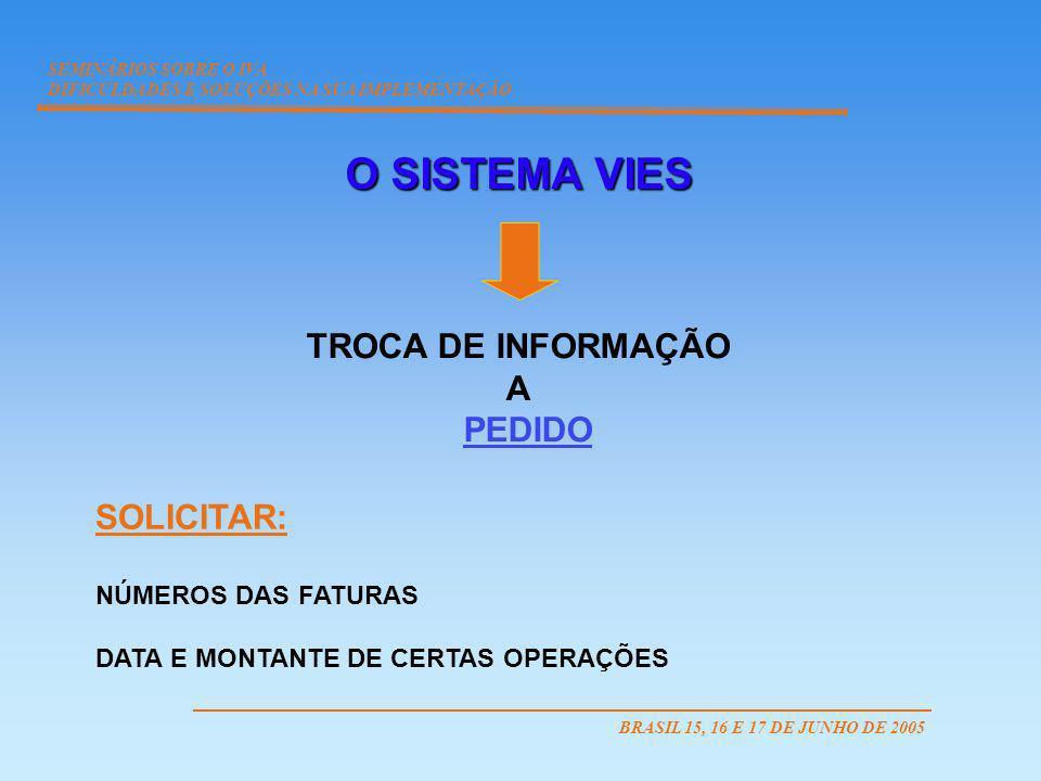 O SISTEMA VIES TROCA DE INFORMAÇÃO A PEDIDO SOLICITAR: