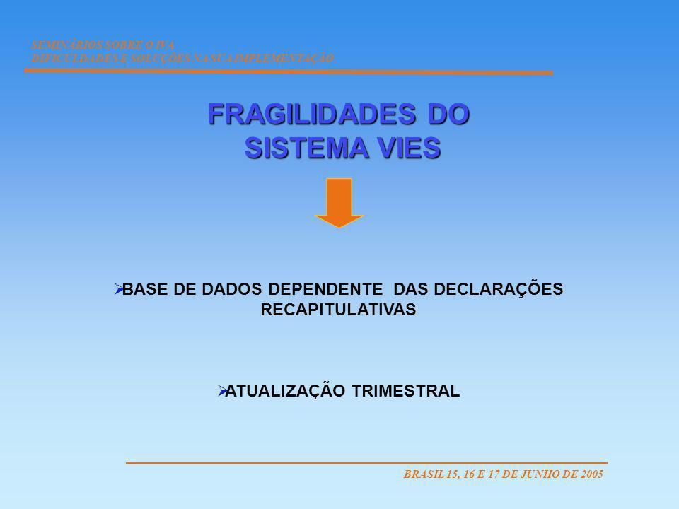 BASE DE DADOS DEPENDENTE DAS DECLARAÇÕES ATUALIZAÇÃO TRIMESTRAL