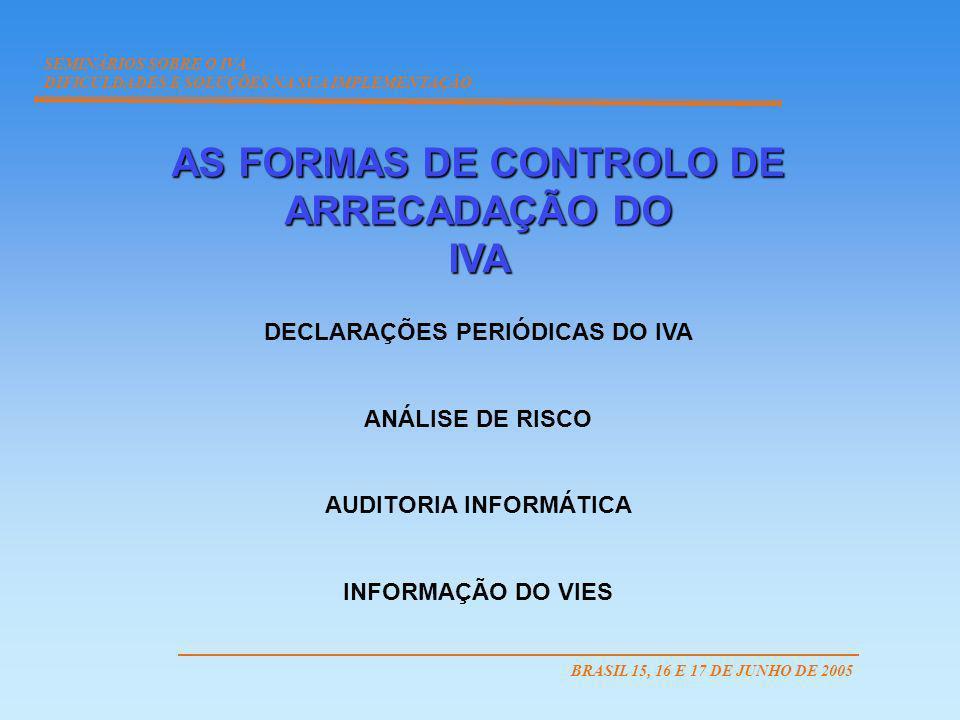 AS FORMAS DE CONTROLO DE ARRECADAÇÃO DO IVA