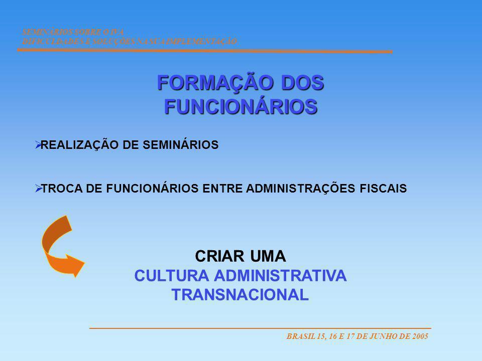 FORMAÇÃO DOS FUNCIONÁRIOS CULTURA ADMINISTRATIVA