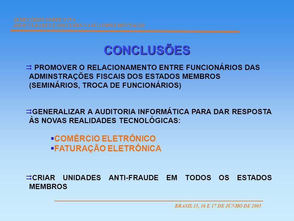CONCLUSÕES COMÉRCIO ELETRÔNICO FATURAÇÃO ELETRÔNICA