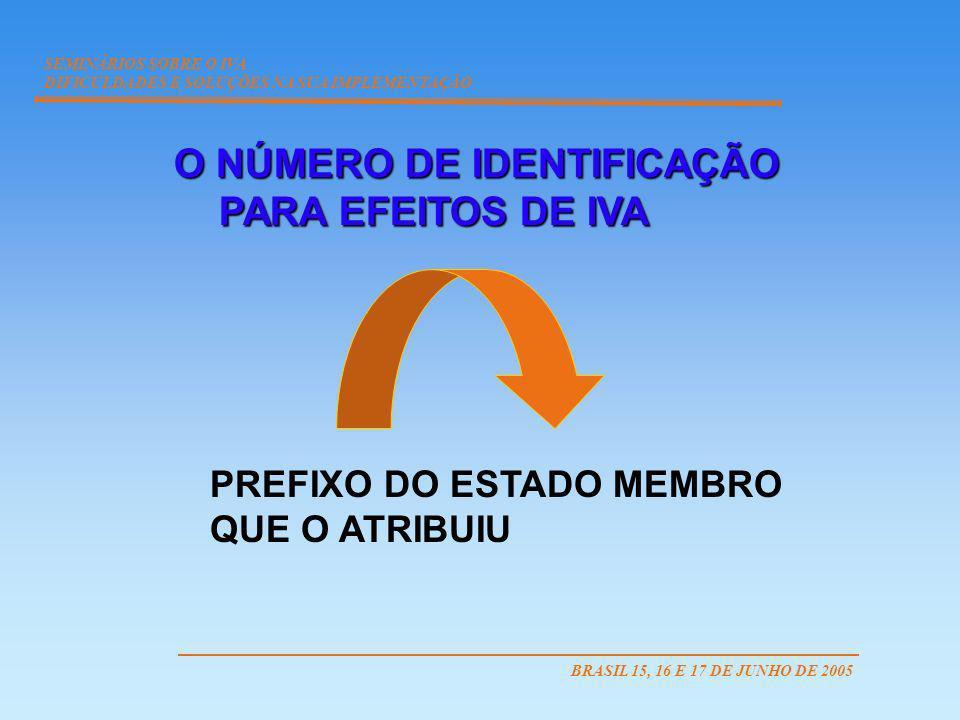 O NÚMERO DE IDENTIFICAÇÃO PARA EFEITOS DE IVA