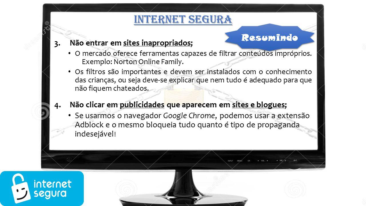 INTERNET SEGURA Resumindo Não entrar em sites inapropriados;