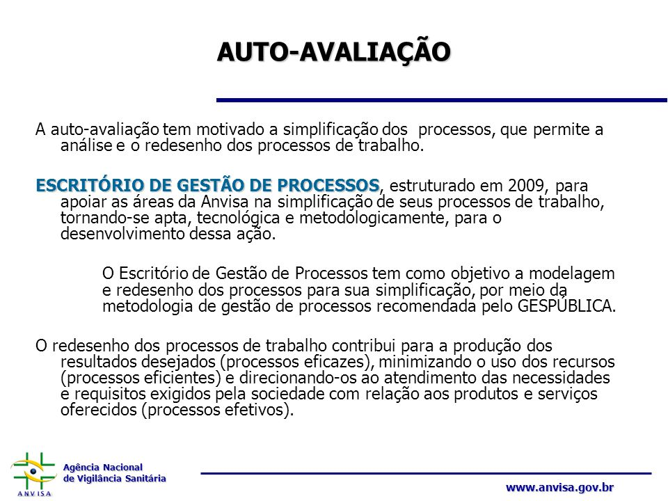 AUTO-AVALIAÇÃO A auto-avaliação tem motivado a simplificação dos processos, que permite a análise e o redesenho dos processos de trabalho.