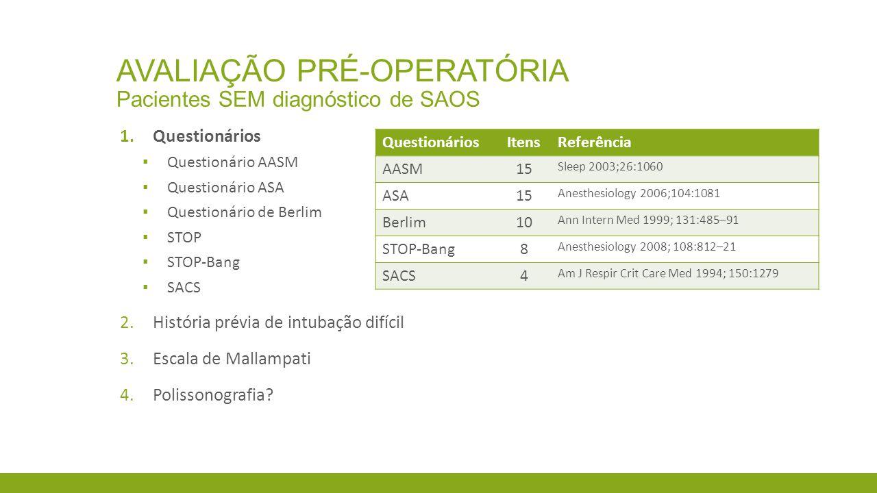 Avaliação pré-operatória Pacientes SEM diagnóstico de SAOS
