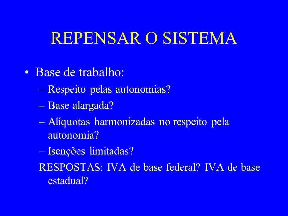 REPENSAR O SISTEMA Base de trabalho: Respeito pelas autonomias