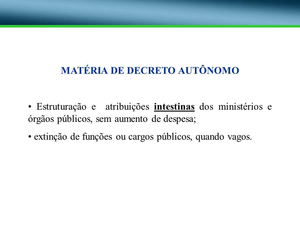 MATÉRIA DE DECRETO AUTÔNOMO