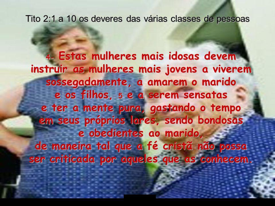 Tito 2:1 a 10 os deveres das várias classes de pessoas