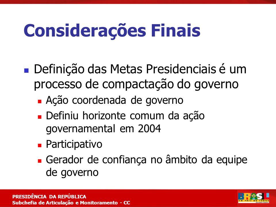 Considerações Finais Definição das Metas Presidenciais é um processo de compactação do governo. Ação coordenada de governo.