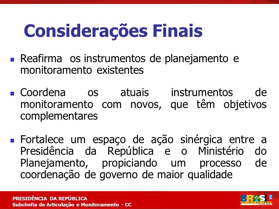 Considerações Finais Reafirma os instrumentos de planejamento e monitoramento existentes.