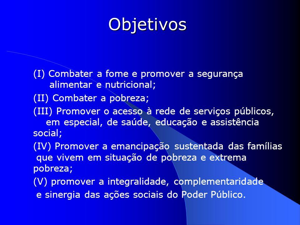 Objetivos (I) Combater a fome e promover a segurança alimentar e nutricional; (II) Combater a pobreza;