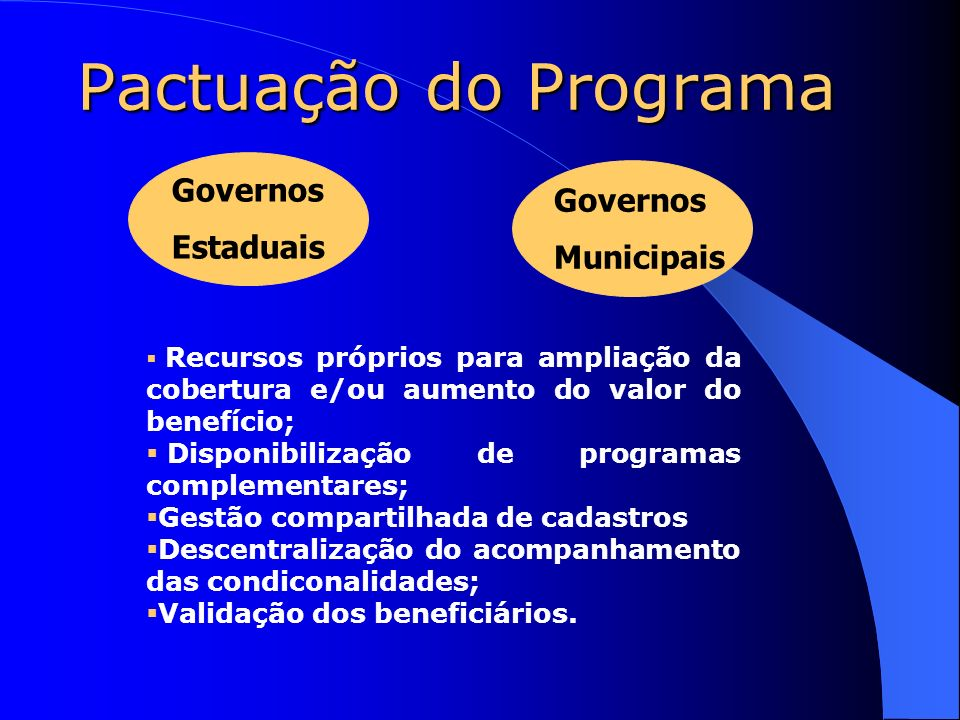 Pactuação do Programa Governos Governos Estaduais Municipais