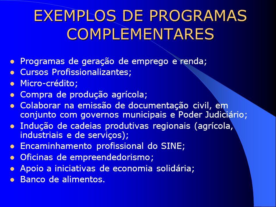 EXEMPLOS DE PROGRAMAS COMPLEMENTARES