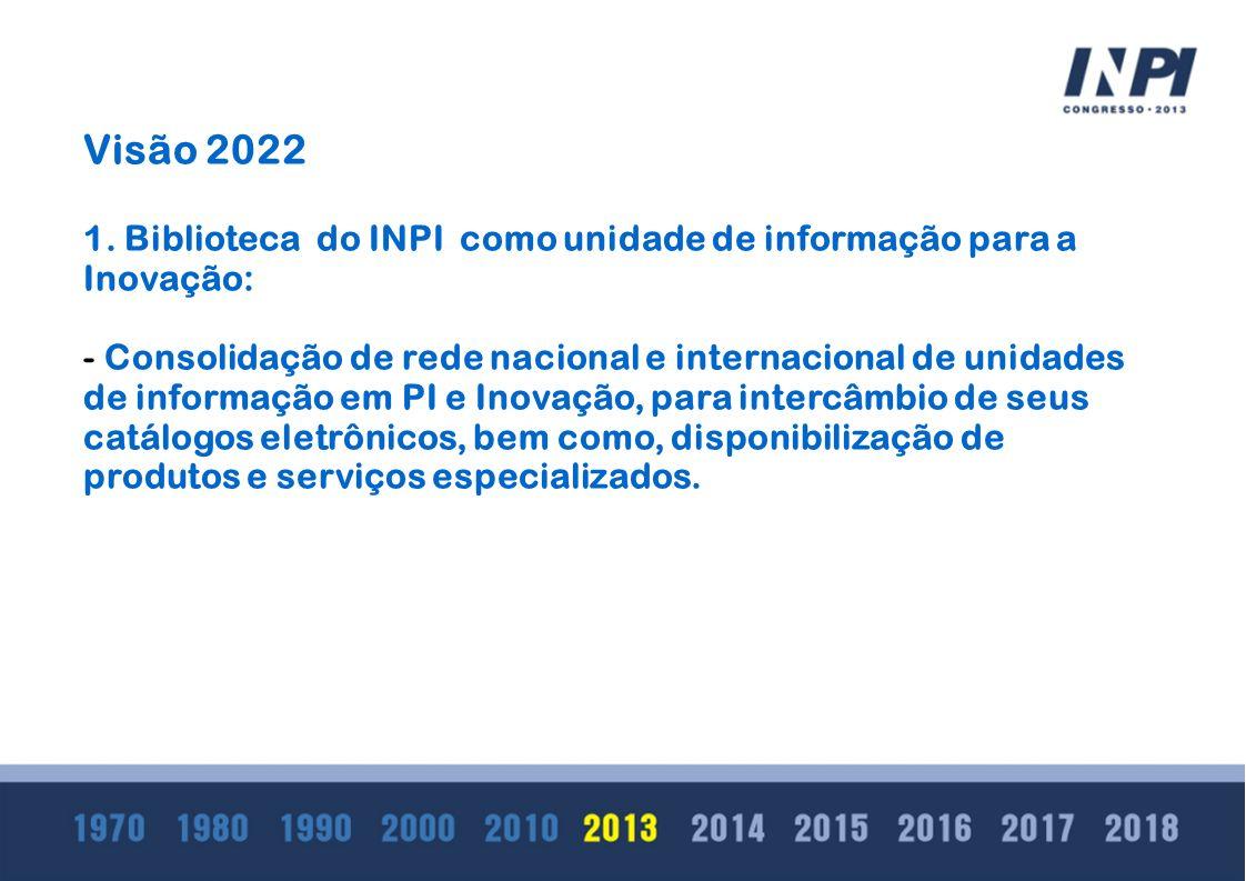 Visão 2022 1. Biblioteca do INPI como unidade de informação para a Inovação: