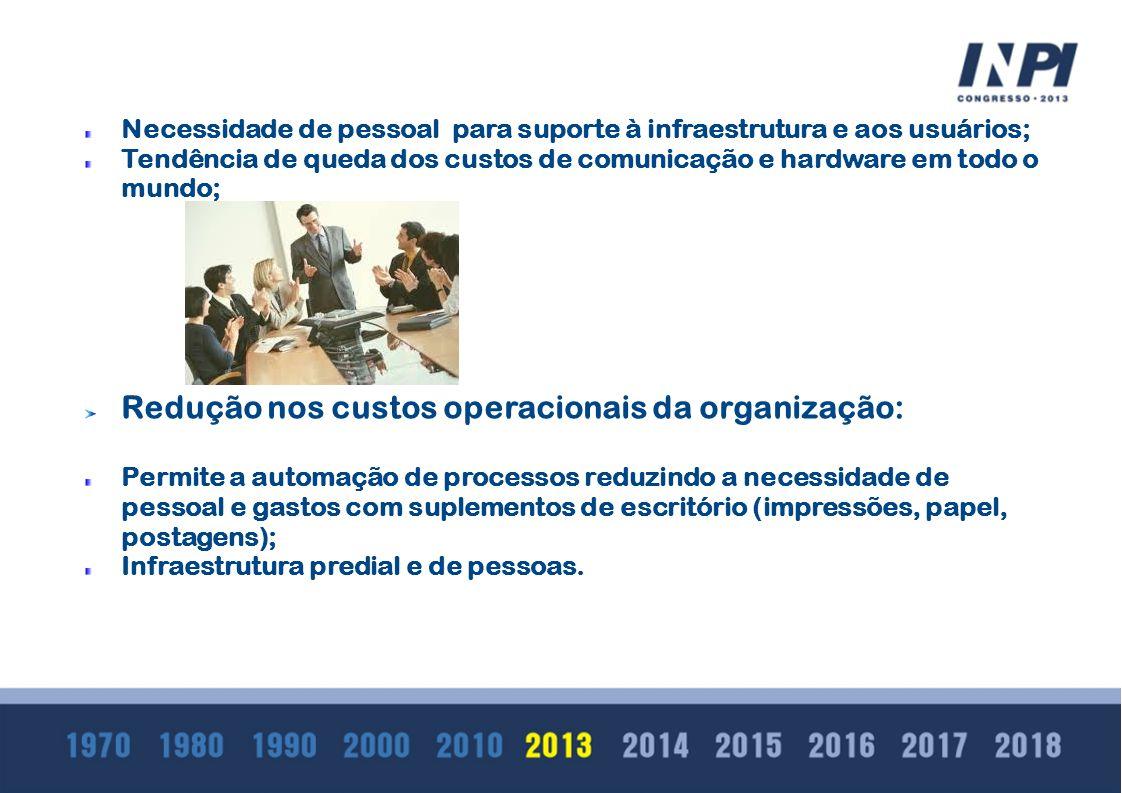 Redução nos custos operacionais da organização: