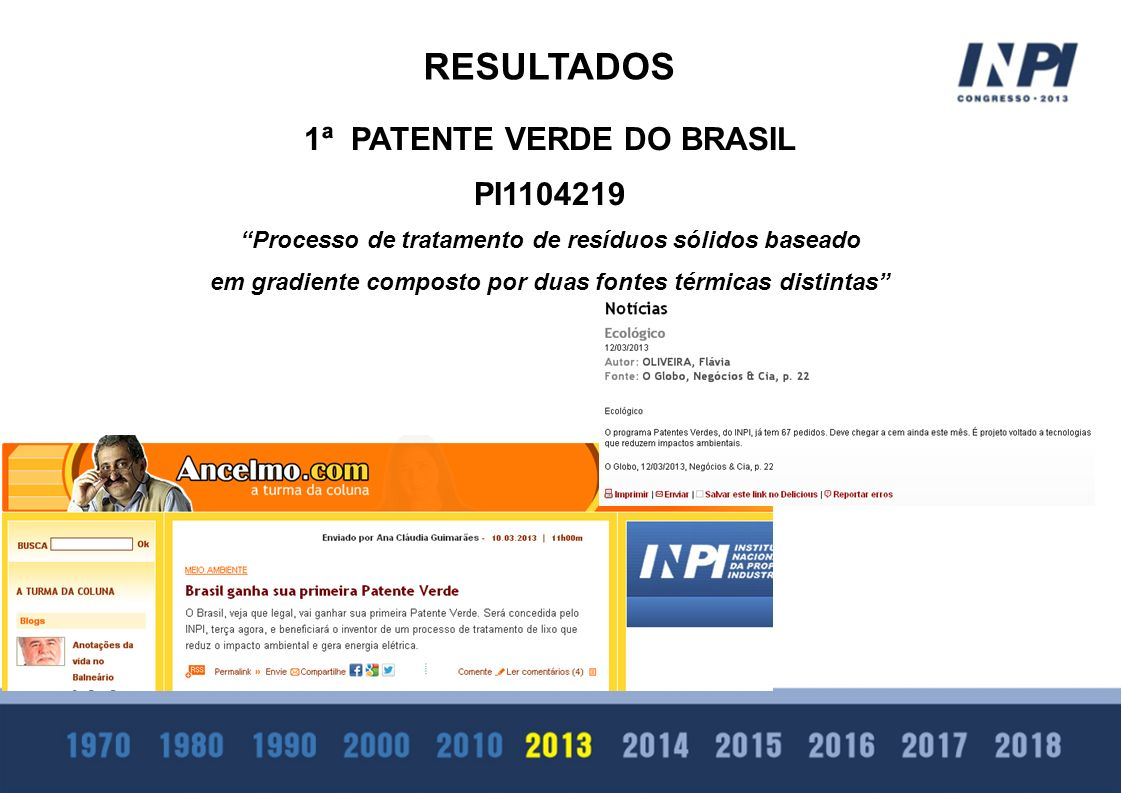 RESULTADOS 1ª PATENTE VERDE DO BRASIL PI1104219