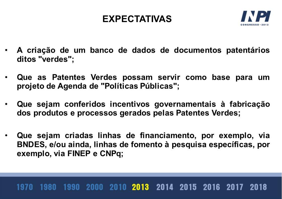 EXPECTATIVAS A criação de um banco de dados de documentos patentários ditos verdes ;