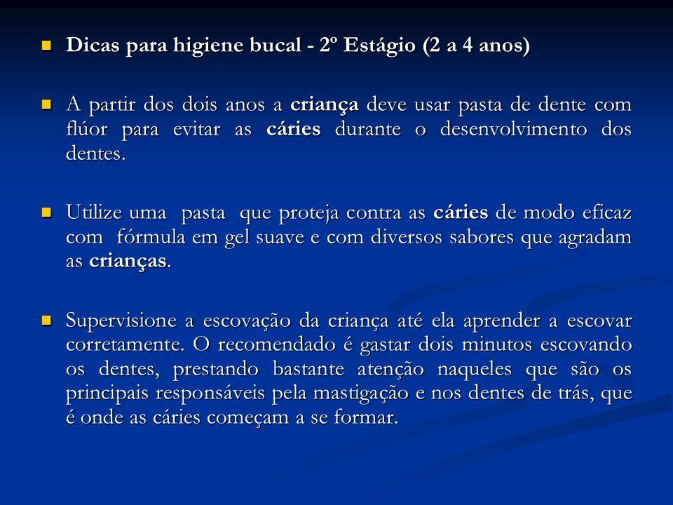 Dicas para higiene bucal - 2º Estágio (2 a 4 anos)
