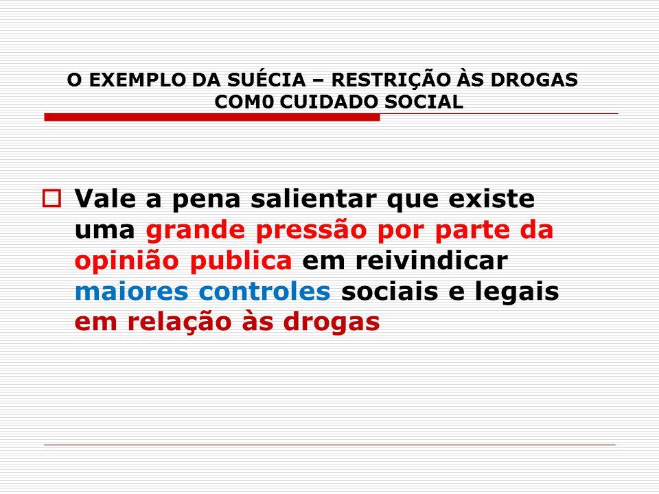 O EXEMPLO DA SUÉCIA – RESTRIÇÃO ÀS DROGAS COM0 CUIDADO SOCIAL