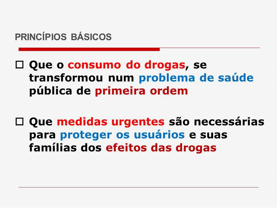 PRINCÍPIOS BÁSICOS Que o consumo do drogas, se transformou num problema de saúde pública de primeira ordem.