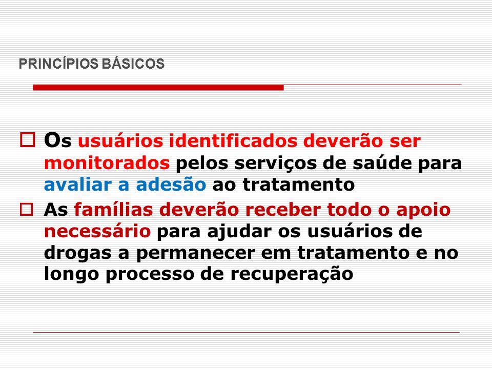 PRINCÍPIOS BÁSICOS Os usuários identificados deverão ser monitorados pelos serviços de saúde para avaliar a adesão ao tratamento.