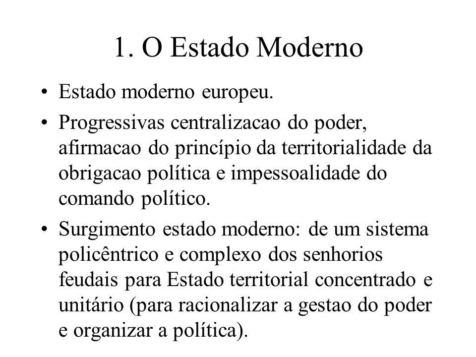 1. O Estado Moderno Estado moderno europeu.