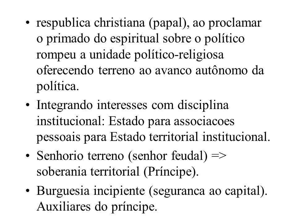 respublica christiana (papal), ao proclamar o primado do espiritual sobre o político rompeu a unidade político-religiosa oferecendo terreno ao avanco autônomo da política.