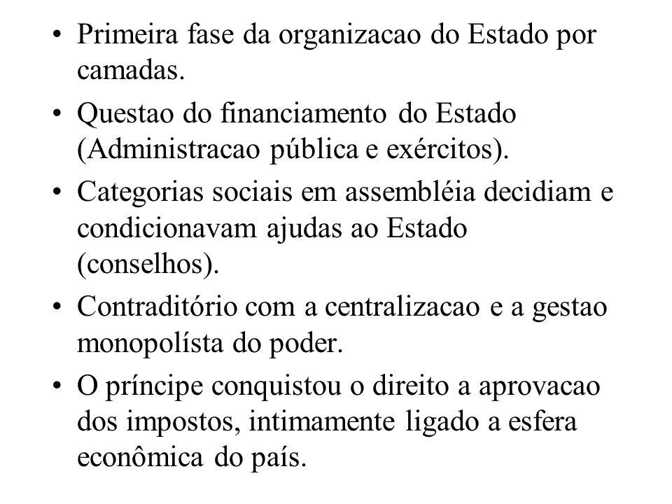 Primeira fase da organizacao do Estado por camadas.