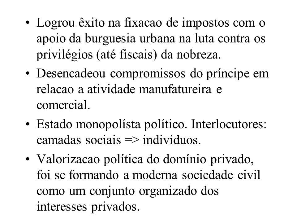 Logrou êxito na fixacao de impostos com o apoio da burguesia urbana na luta contra os privilégios (até fiscais) da nobreza.