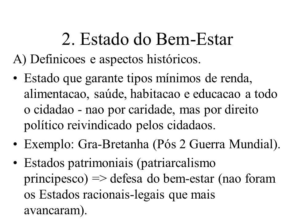 2. Estado do Bem-Estar A) Definicoes e aspectos históricos.