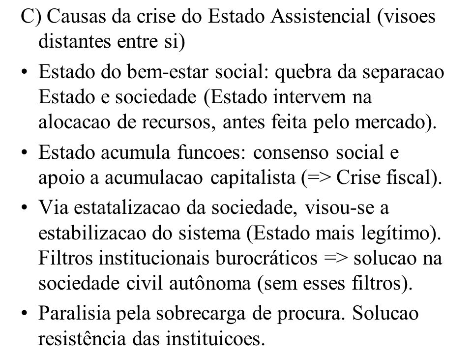 C) Causas da crise do Estado Assistencial (visoes distantes entre si)