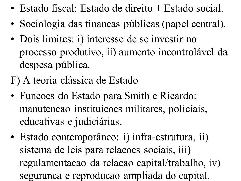 Estado fiscal: Estado de direito + Estado social.