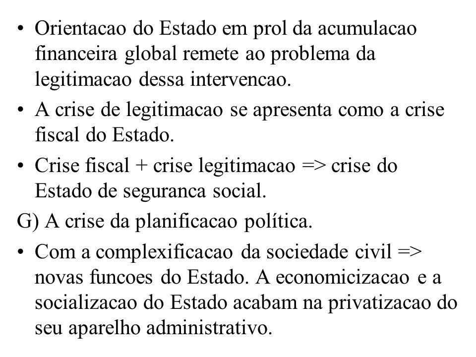Orientacao do Estado em prol da acumulacao financeira global remete ao problema da legitimacao dessa intervencao.