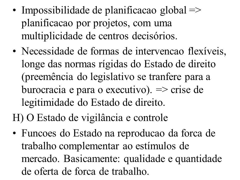 Impossibilidade de planificacao global => planificacao por projetos, com uma multiplicidade de centros decisórios.