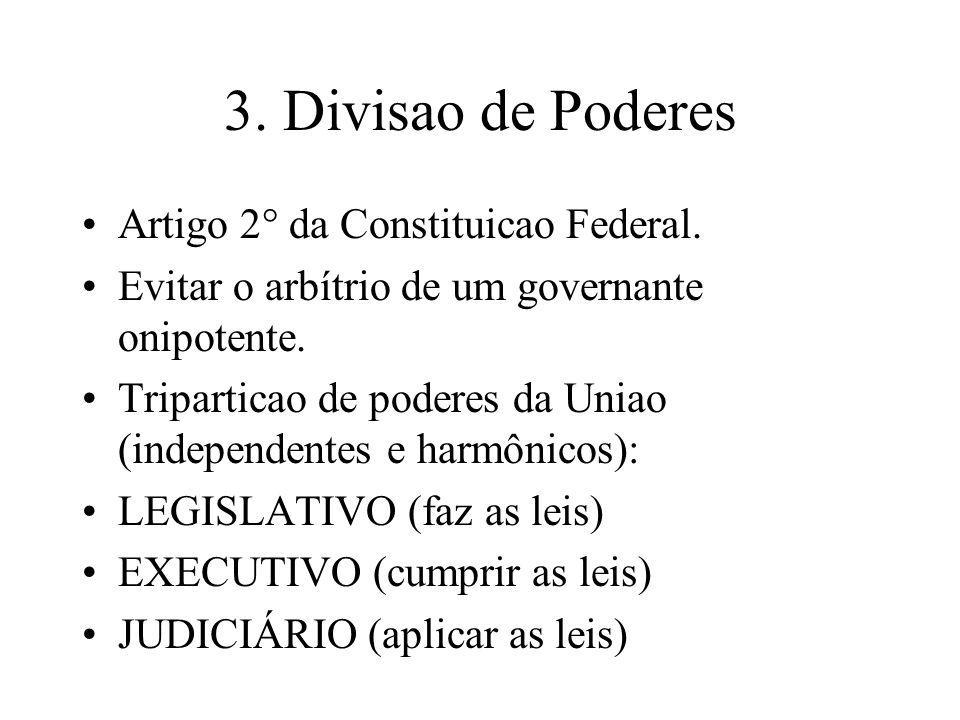 3. Divisao de Poderes Artigo 2° da Constituicao Federal.