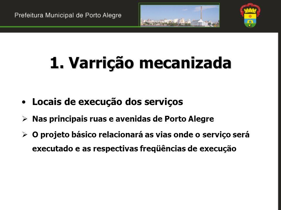 1. Varrição mecanizada Locais de execução dos serviços