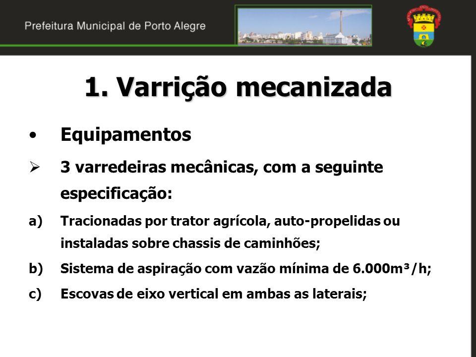 1. Varrição mecanizada Equipamentos