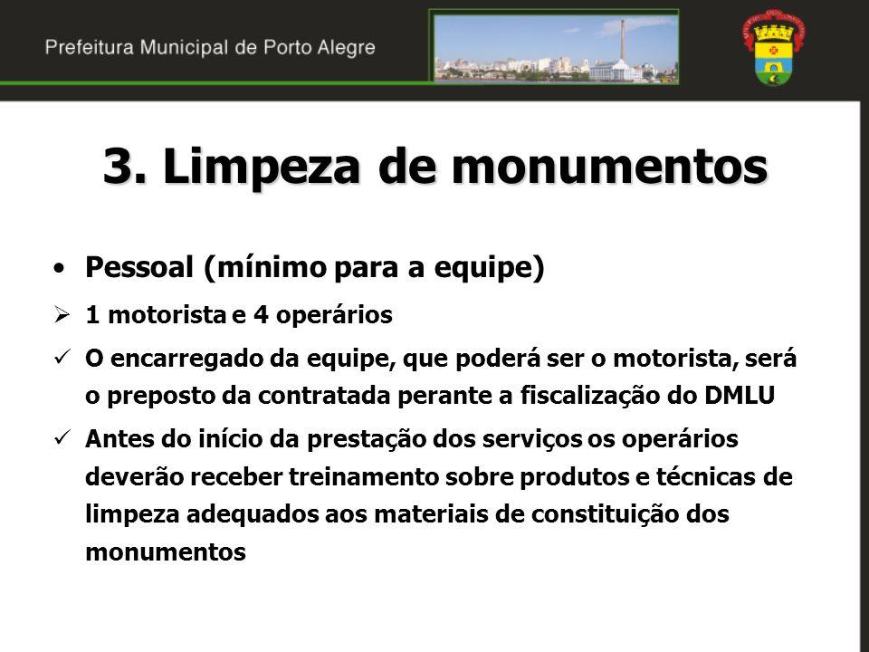 3. Limpeza de monumentos Pessoal (mínimo para a equipe)
