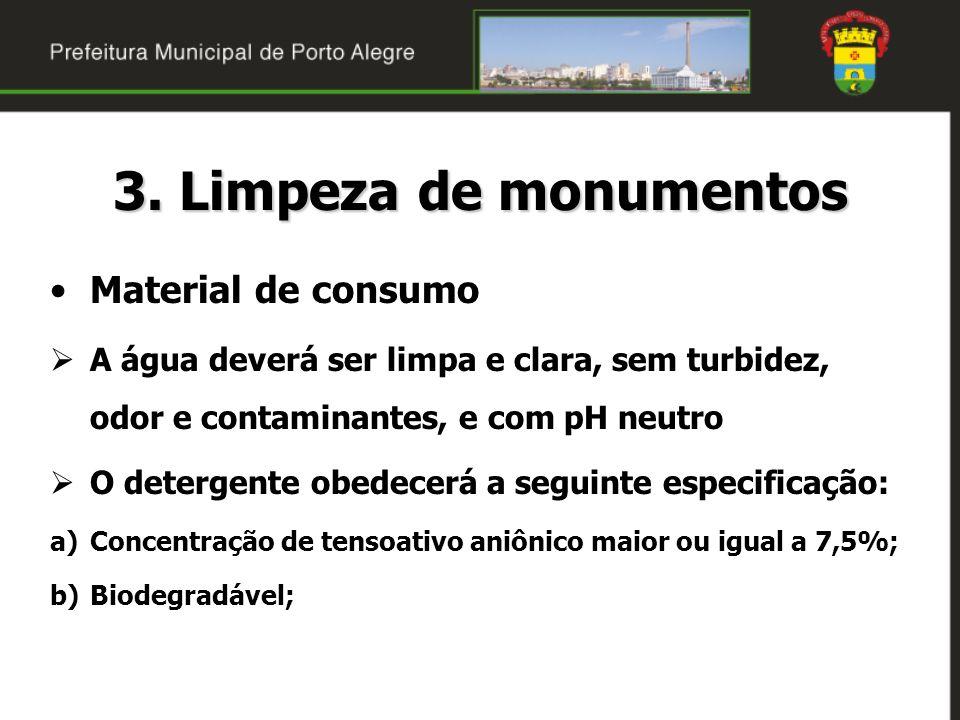 3. Limpeza de monumentos Material de consumo