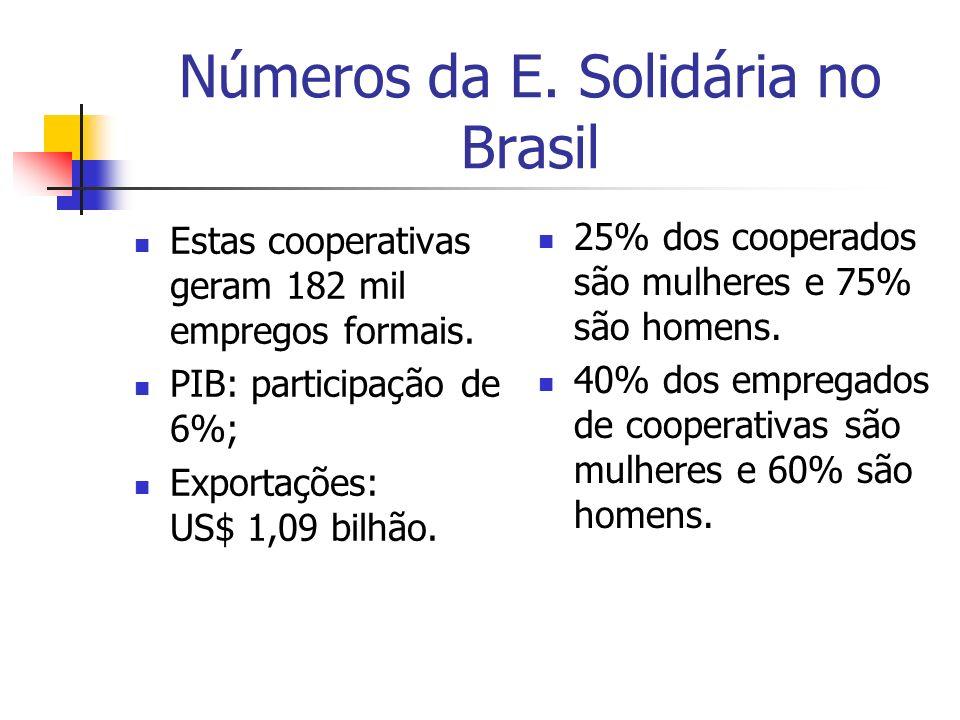Números da E. Solidária no Brasil