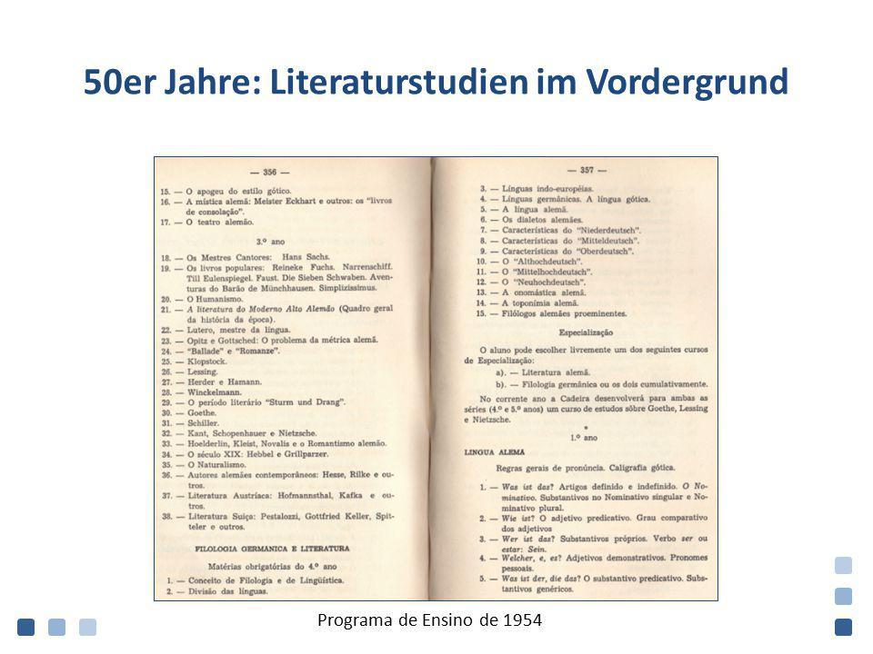 50er Jahre: Literaturstudien im Vordergrund