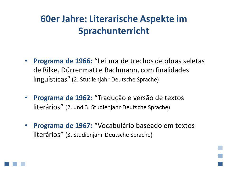 60er Jahre: Literarische Aspekte im Sprachunterricht