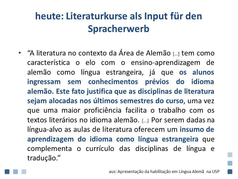 heute: Literaturkurse als Input für den Spracherwerb