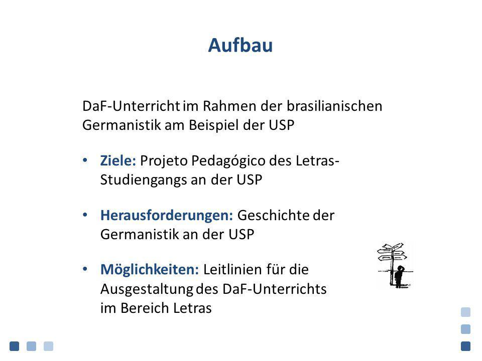Aufbau DaF-Unterricht im Rahmen der brasilianischen Germanistik am Beispiel der USP. Ziele: Projeto Pedagógico des Letras- Studiengangs an der USP.