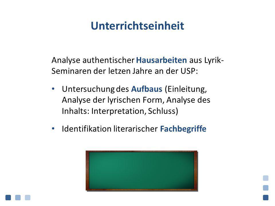 Unterrichtseinheit Analyse authentischer Hausarbeiten aus Lyrik- Seminaren der letzen Jahre an der USP: