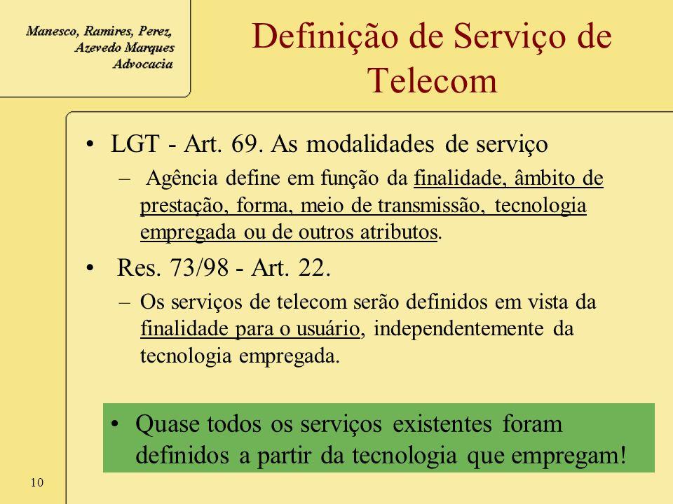 Definição de Serviço de Telecom