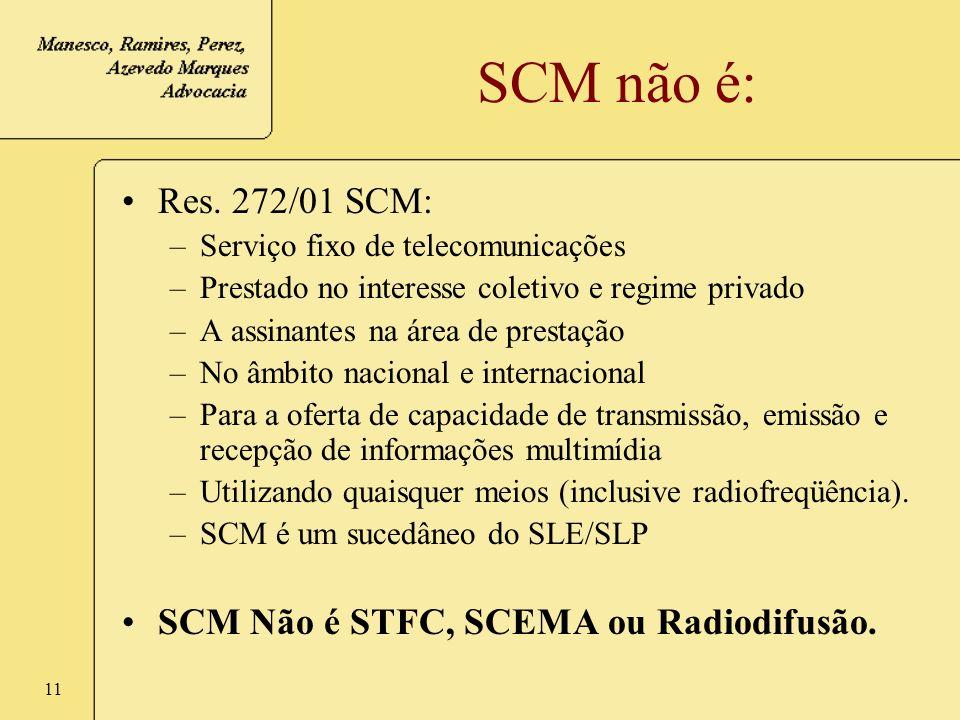SCM não é: Res. 272/01 SCM: SCM Não é STFC, SCEMA ou Radiodifusão.
