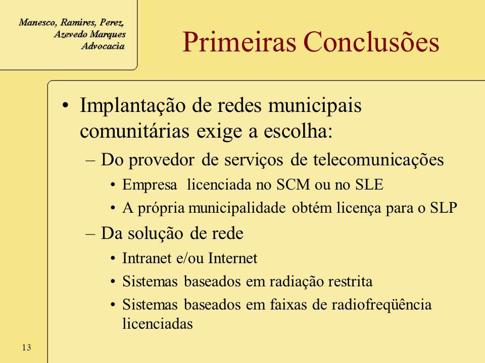 Primeiras Conclusões Implantação de redes municipais comunitárias exige a escolha: Do provedor de serviços de telecomunicações.
