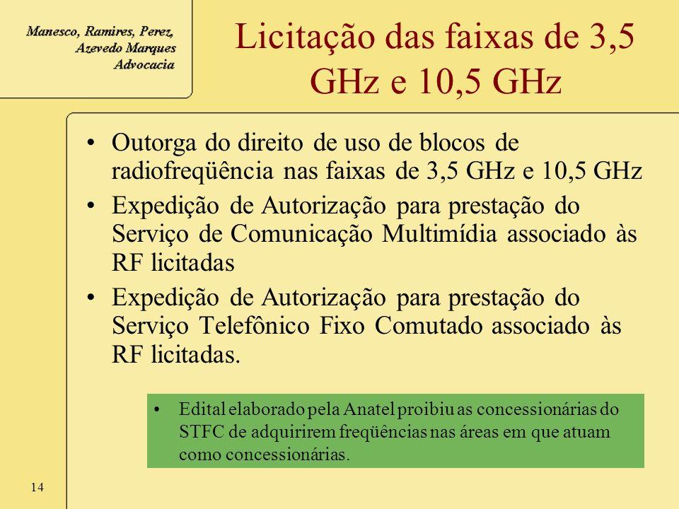 Licitação das faixas de 3,5 GHz e 10,5 GHz
